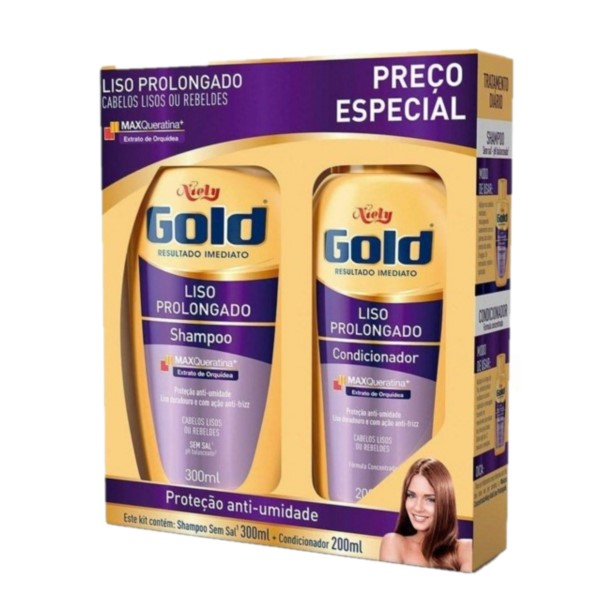 KIT SHAMPOO+CONDICIONADOR NIELY GOLD LISO PROLONG
