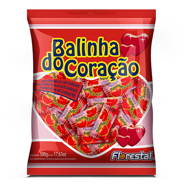 BALA CORACAO MORANGO FLORESTAL 500G
