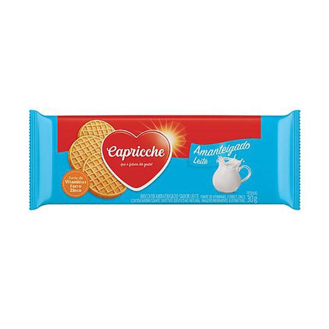BISCOITO AMANTEIGADO CAPRICCHE LEITE 30G